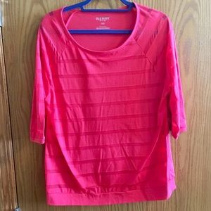 Old Navy casual striped tee - Bright Coral/pink